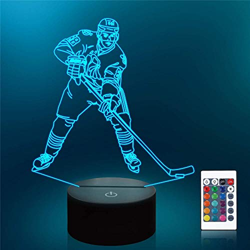 3D Optical Bedside Table Night Lights Kids Night Light Ice Hockey Player 16 Colors Auto Changing Desk Decoration Lamps Birthday Gift with Remote Control
