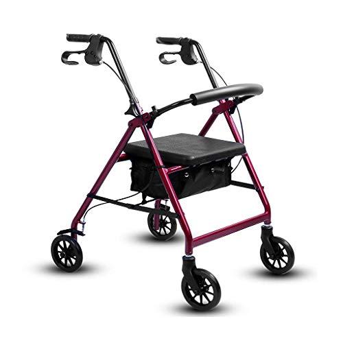 Folding 4 ruote Rollator Walker sedile imbottito, Freni con serratura, maniglie ergonomiche, limitata mobilità Aid girello ortopedico RVTYR (Color : Red)