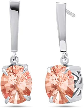 Nicole Miller Fine Jewelry Sterling Silver with 10x8mm Oval Cut Simulated Morganite Dangle Drop product image