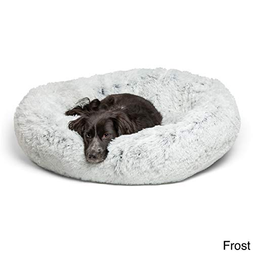 Best Friends by Sheri Calming Shag Vegan Fur Donut Cuddler (36x36, Zippered') – Large Round Donut Cat and Dog Cushion Bed, Removable Shell, Warming and Cozy for Improved Sleep - For Pets Up to 100 lbs