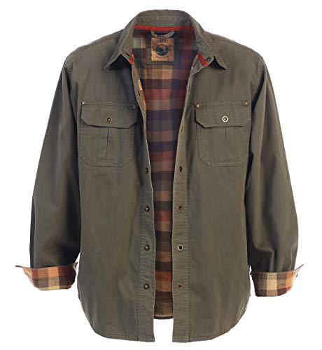 Gioberti Men's Brushed and Soft Twill Shirt Jacket with Flannel Lining, Olive, XL