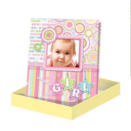 """Album De Fotos""""Diver Baby Photo"""" Rosa en Caja de Regalo - Albumes de Fotos Originales y Baratos para Niños Rosas. Recuerdos para Bautizos Bebés"""