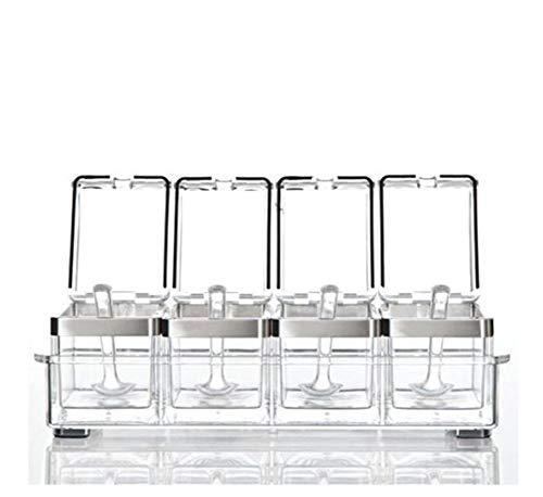 CSPFAIRY Caja de Especias Transparente de acrílico para protección del Medio Ambiente, para Cocina, Especias, tarros de Sellado, condimentos, Suministros de Cocina multifunción