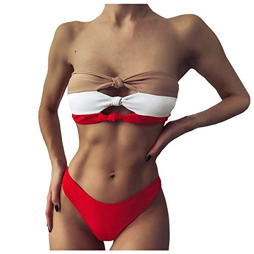 Bikini sexy, bañador alto con abertura de color liso, dos piezas de playa sexy de verano rojo S