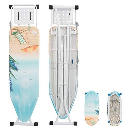 WOLTU BGT08std Bügeltisch Bügelbrett mit Ärmelbrett, Kabelhalter und Wäscheablage Strand 132 x 33,5 cm