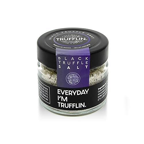 TRUFFLIN Truffle Salt - Gourmet Black Truffle Sea Salt Harvested by Hand in Guerande France, Natural Flaky Sea Salt Crystals with Truffle Zest (3.5oz)