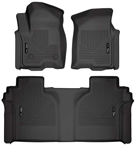 Husky Liners 94021 Black Weatherbeater Front & 2nd Seat Floor Mats Fits 2019 Chevrolet Silverado/GMC Sierra 1500 Crew Cab - with Carpeted Factory Storage Box 1999 Exclusive Car Mats