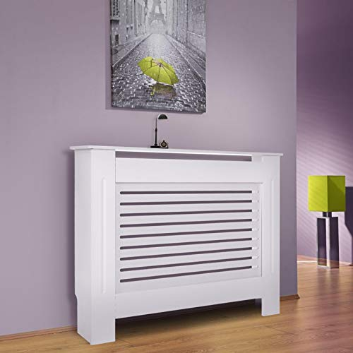Radiator Covers, Small Modern Slatted Grill Slats White Painted MDF Cabinet, Wood Top Shelf Radiator Cover, Slatted Cabinet Storage Heater Cover for Living Room Bedroom Hallway, 81x78x19cm