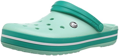 Crocs unisex-adult Crocband Clog | Comfortable Slip On Casual Water Shoe New Mint/Tropical Teal 7 US Men / 9 US Women