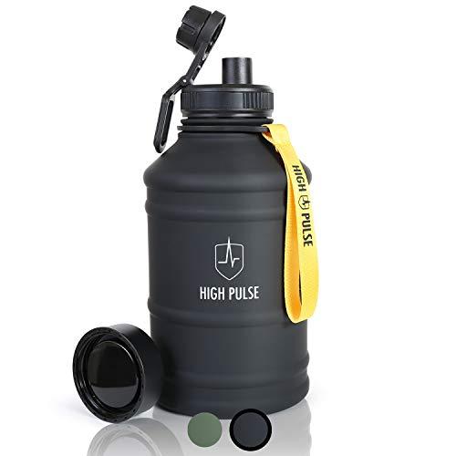 High Pulse® XXLWaterJugaus Edelstahl mit Trinkaufsatz + Verschlusskappe (2,2 l) – Auslaufsichere Trinkflasche für Ihr Fitness- und Krafttraining – 100% BPA-frei und Kohlensäure geeignet (Schwarz)
