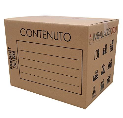 IMBALLAGGI 2000-5 Scatoloni da Trasloco - 60x40x40 cm - Scatola di Cartone - Imballaggi per Spedizione e Trasloco Resistenza RINFORZATA - 5 Pezzi