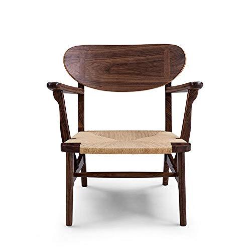 Sofa lichte handmatige stoelstoel sofa vintage houten ligstoel voor de slaapkamer vloerbedekking zitting sofa stoel modern hout lounge stoel 700X620X650MM bruin