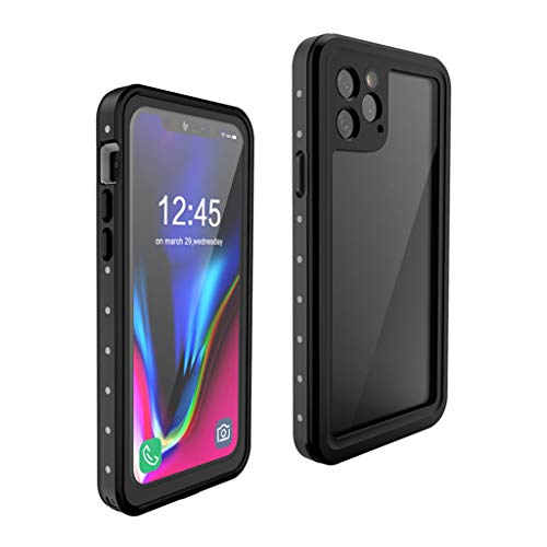 ErYao for iPhone 11 Pro 5.8 Inch Case Waterproof Shockproof Screen Protector Dustproof, Support Wereless Charging, Full Body Protect Case (Black)
