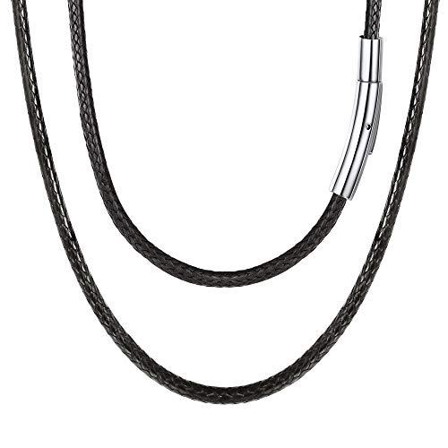 FOCALOOK Kunstleder Collier 55CM Halskette Wachsschnur Kette 3mm Schwarz Geflochten Lederkette Armband Gothic Lederband mit Edelstahl Verschluss für Männer Frauen Jungen Mädchen