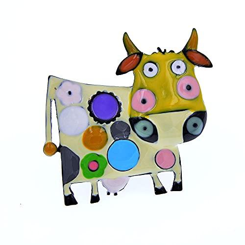 ROTOOY Broches de Vaca esmaltados Coloridos para Mujer, Abrigo de Invierno, suéter, Broche, Animal, Leche-Vaca, Pin Diaco Jewelry 2021-amarillo