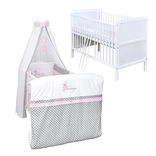 Baby Delux Babybett Komplett Set umbaubar Juniorbett weiß 140x70 mit mehrteiligem Bettset Princess Grey Stars