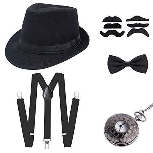 Wagoog 1920s Herren Gatsby Kostüm Accessoires, 20er Gangster Mafia Flapper kostüm Zubehör Set mit Panama Gangster Hut, Verstellbar Elastisch Hosenträger, Halsschleife Fliege und Taschenuhr
