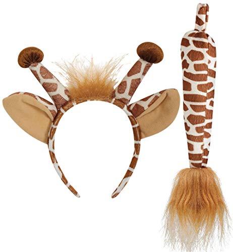 KarnevalsTeufel Giraffen-Set, 2-TLG. Haarreif mit Ohren und Schwanz, Tierkostüm, Animal, Karneval, Fasching, Mottoparty