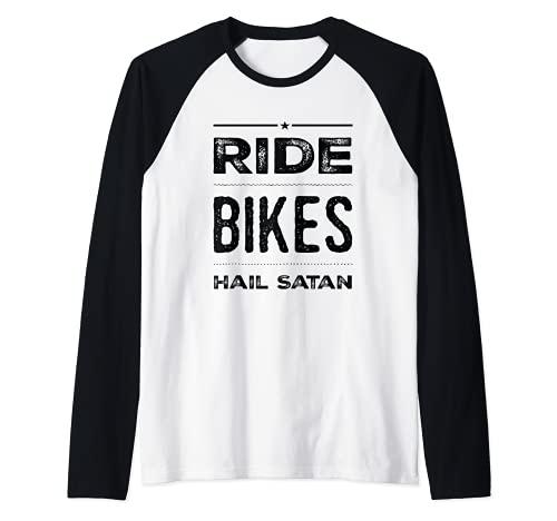 Ride Bikes Ave Satan Star Design Camiseta Manga Raglan