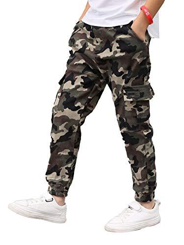 Doomiva Jungen Lange Hose Kinder Camuflage Hosen Schule Sport Skate Laufen Sporthose Jogginghose mit Gummizug Streetwear 6-14 Jahre Camouflage Army Gree 140