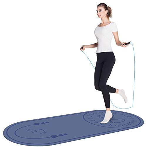 Jump Rope Mat, Aforfu Knees Protection Impact Absorption Durable Jumping Rope Mat with Non-Slip Texture for Home Indoor Workout, High Density Adds Jump Ropes Longevity Portable Exercise Mat (Blue)