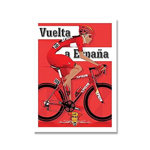 YINGFUN Deportes Bicicleta Ciclismo Lienzo Pintura Vintage Tour Paisaje Francia Gran Bretaña Ciclista Cartel de la Pared Imprimir imágenes Decoración del hogar (Color : C, Size : 50x70cm No Frame)