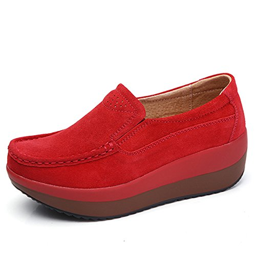 gracosy Slip-On Platform Shoes, Women's Suede Soft Toning Rocker Shoes Shape UPS Sneakers Walking Shoes Red