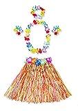 Jingyunstore Vestido de Fiesta para niños Hawaii Hula Grass Skirt Set de Falda Ajustable para Fiesta Hawaiana Disfraz de Disfraces de 40 CM-Colorido