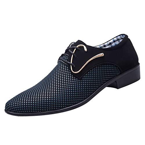 FNKDOR Schuhe Größe (38-45) Herren Geschäft Freizeitschuhe Britisches Tuch Berufsschuhe Spitz Schnürsenkel Anzugschuhe Dunkelblau 40 EU