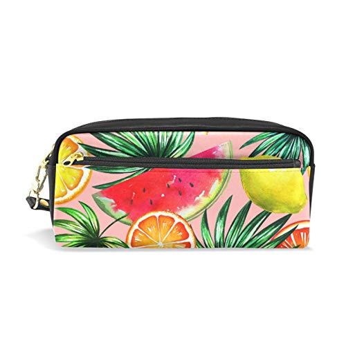 Cremallera Grande Maquillaje Cosmético Pluma Lápiz Papelería Bolsa de almacenamiento Bolsa Estuche Tropical Sandía Frutas Palma Floral Verano Hawaiano