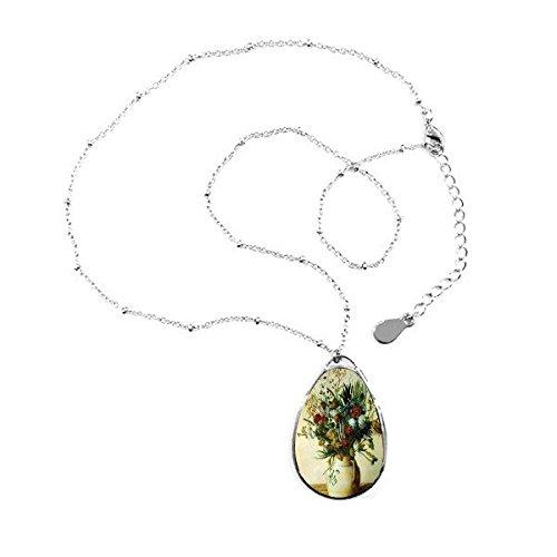 Doe-het-zelf schilderij leven olie vaas bloemen-ilisatie patroon teardrop-vorm hanger halsketting sieraad met ketting decoratie geschenk