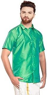 SJS-Men's Half Sleeve Solid Art Silk Shirt (Light Green, 36)