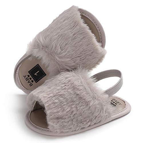 WXDC Recién Nacido bebé Suave Suela Cuna Zapatos Lindo Pelaje Esponjoso Zapatillas de Verano Sandalias tacón Plano