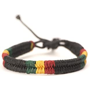 81stgeneration Cotton Rasta Plaited Braided Bob Marley Adjustable Wristband Bracelet, 17-28 cm