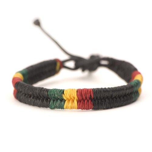 81stgeneration Rasta Hippie Pulsera de Cuero Trenzada de Algodón Bob Marley