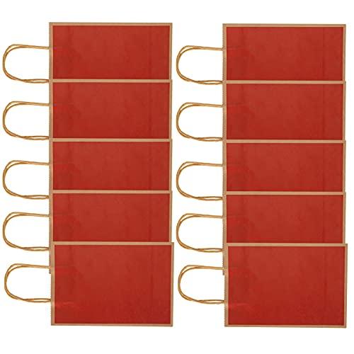 Eosnow Bolsa Kraft, 5.9 X 3.1 X 8.3in Bolsas de Regalo Diseño Abierto Generoso con cómodas Asas de Cuerda para Bolsas de Regalo para bocadillos(15 * 8 * 21, Borde Rojo-Natural)