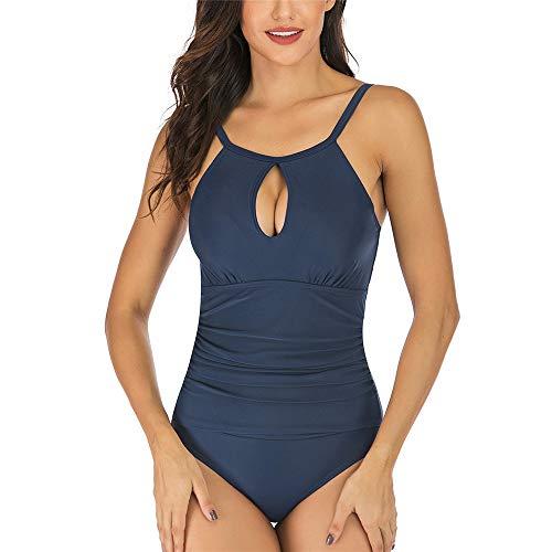 Jmsc Costume da Bagno da Donna con Collo Ornamentale Sexy Che Raccoglie la Pancia a Passeggio Beachwear Collo Alto Costume da Bagno Intero L