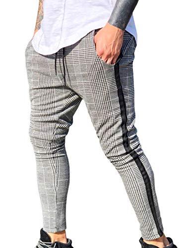 SOMTHRON Skinny slim fit vrijetijdsbroek mode geruit trekkoord sweatbroek met strepen