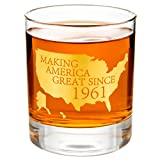 """Crisky 60th Birthday Whiskey Glass for Men Funny 60th Birthday Gift Idea for Him, Husband, Father, Brother Friends Party Favors, Decorations Gold Foil""""Making XX Great Since 1961"""" 11 oz, with Box"""