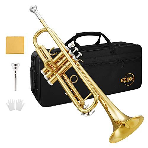 Eking Bb Trumpet Standard Student Bb Trumpet Set Gold Trumpet with Hard Case, Valve...