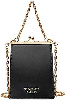 TOOGOO Fashion Metal Frame Bags for Women's Leather Chain Handbags Women Pu Metal Frame Shell Ladies Shoulder Bags Women Totes Khaki