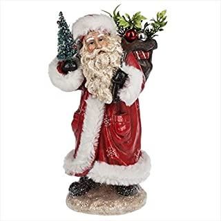 Midwest-CBK Santa with Sack and Tree Rosy Red 12 x 7 Paper Pulp Christmas Holiday Figurine