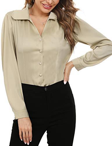 Irevial damska codzienna satynowa dekolt w serek długi rękaw guziki dół bluzka koszule luźna koszula biuro bluzka topy