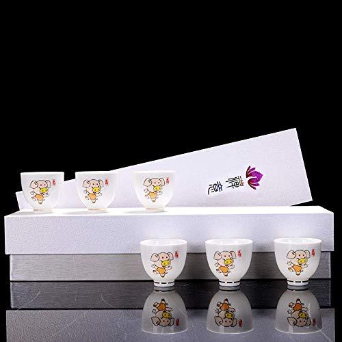 XYSQWZ Juego De Té De Porcelana Blanca Juego De Té Maestro del Zodíaco Chino Copa De Vino Pequeña Negocio Regalo Práctico Logotipo Personalizado-12 Taza del Zodiaco Cerdo