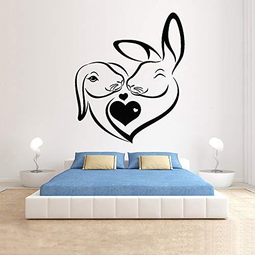 Tianpengyuanshuai Abstrakte Kaninchen Wandtattoo Schlafzimmer Paar Nacht Hintergrund Dekoration Tier Haustier Liebe Kinderzimmer Vinyl Wand/Fenster Aufkleber-76x63cm