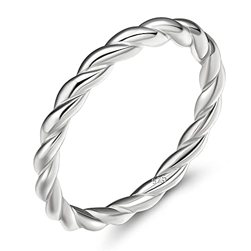 925 Sterling Silver Celtic Knot Ring Simple Criss Cross Infinity Wedding Band for Women Size 4-11 (Silver-Rope, 11)