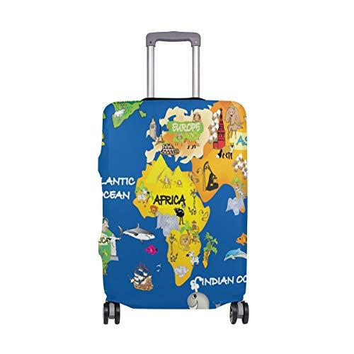 Funda Protectora para Maleta de Viaje con diseño de mapamundi de Dibujos Animados y mapas del Mundo, para Adultos, Mujeres, Hombres y Adolescentes, se Adapta a 18-20 Pulgadas
