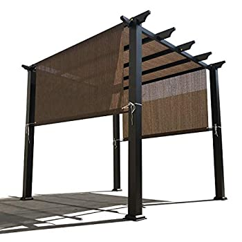 Alion Home Custom HDPE Permeable Canopy Sun Shade Cover Replacement with Rod Pockets for Pergola  14  x 8  Mocha Brown