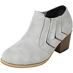 Riou Women Buckle Ladies Faux Warm Boots Ankle Boots High Heels Martin Shoes:Labuttanret