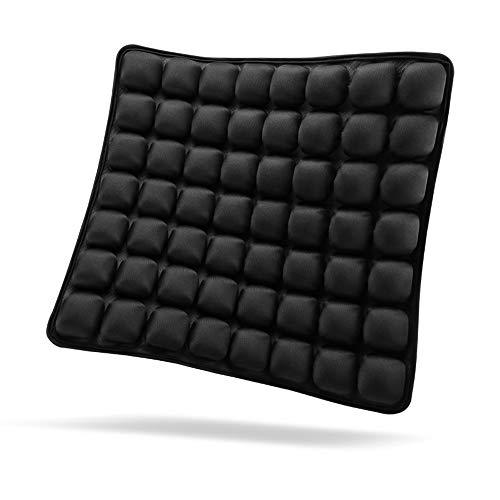 SUNFICON Inflatable Air Cushion Chair Air Seat Cushion Car Portable Breathable Comfort Cushion Office Wheelchair Pad Orthopedics Pain Pressure Relief Cushion Camping Seat Mat 18 x 16 x1 in Black